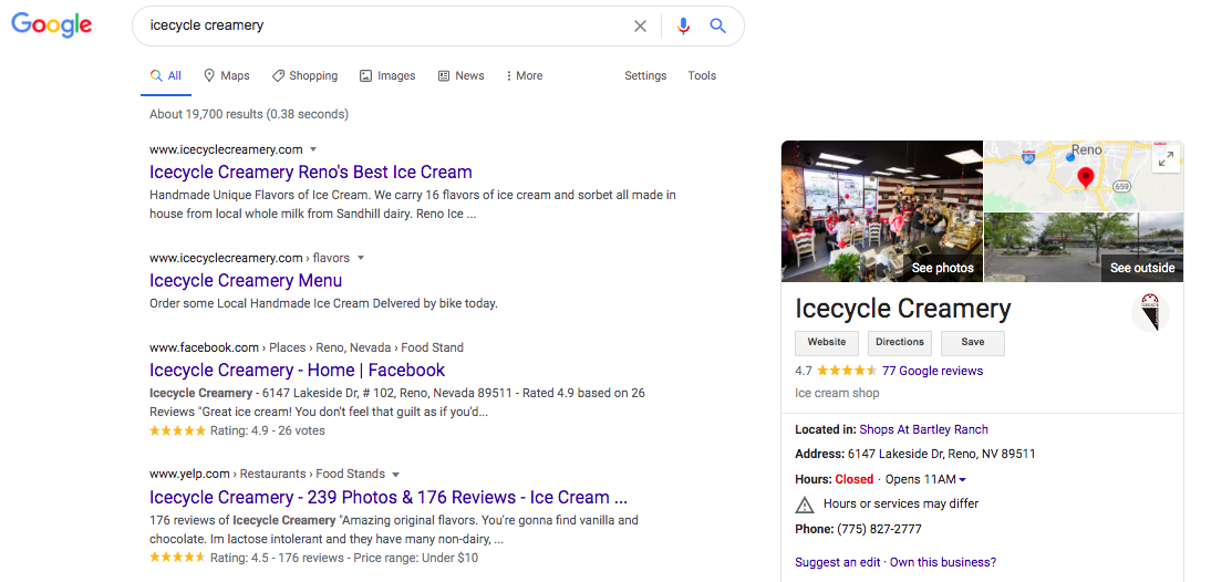 An example of a brand reputation result for a branded local search