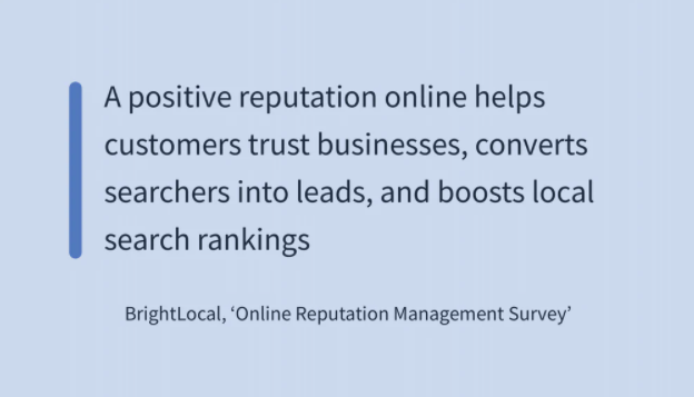 A quote about why brand reputation management is important for online strategy